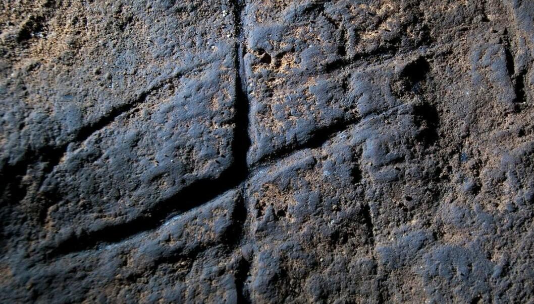 Denne enkle inskripsjonen kan bety at neandertalere var istand til å tenke abstrakt, og tas som et bevis for at neandertalerne hadde et mer utviklet sjelsliv enn tidligere antatt. Ikke alle er enige i det. (Foto: Stuart Finlayson, AP)