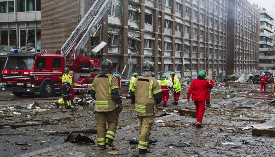 Regjeringskvartalet etter bomben  22. juli 2011. (Foto: Berit Roald, NTB Scanpix)
