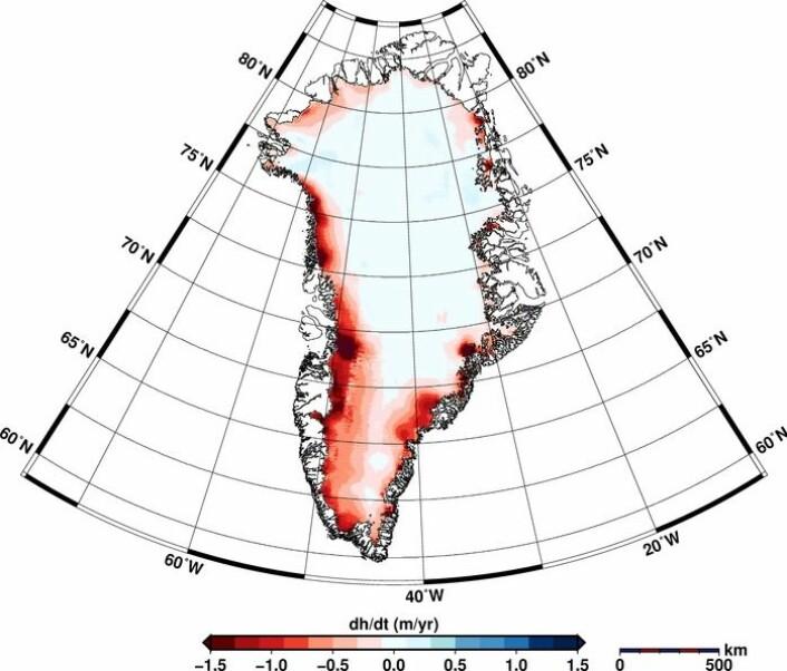 Endringen i istykkelse på Grønland fra januar 2011 til januar 2014 målt av ESAs satellitt CryoSat. Helm et al., The Cryosphere, 2014