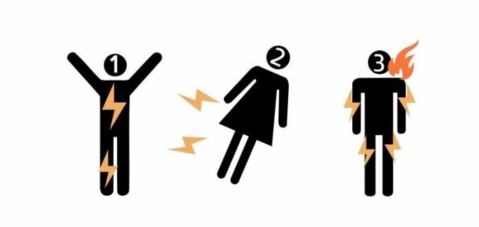 Overlege Rikke Holmgaard forklarer at lynet typisk vil ramme deg på tre måter: Innvendig, utvendig eller ved siden av deg. (Grafikk: Sarafina Kimø)