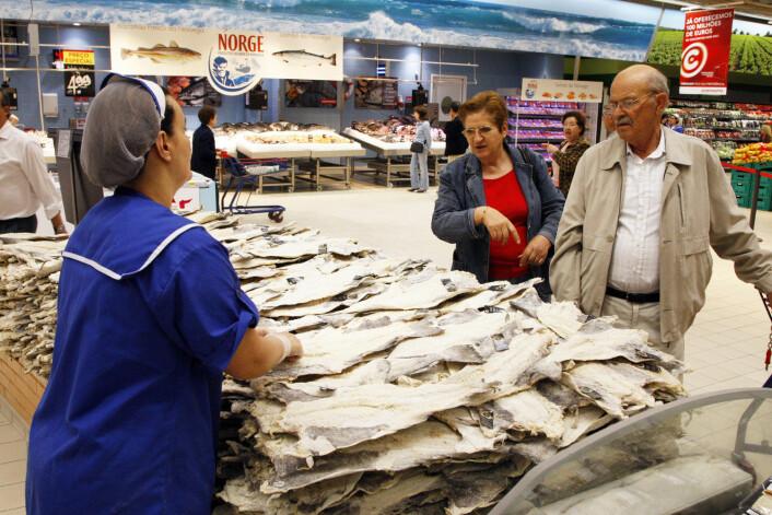 Klippfisk fra Norge i Continente Colombo supermarked i Lisboa i Portugal. (Foto: Foto: Lise Åserud, Scanpix)