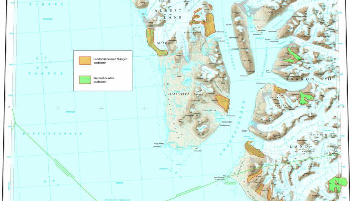 Dei gule og grøne områda på kartet over Krossfjorden har no fått namn. (Kart: Norsk Polarinstitutt)