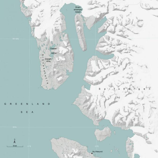 Stader på Svalbard oppkalla etter Hanna Resvoll-Holmsen: Diesetsletta, Diesetvatna, Diesetelva og Grønstrømpeneset. Grønstrømpeneset er nytt namn frå 2019. (Kart: Norsk Polarinstitutt)