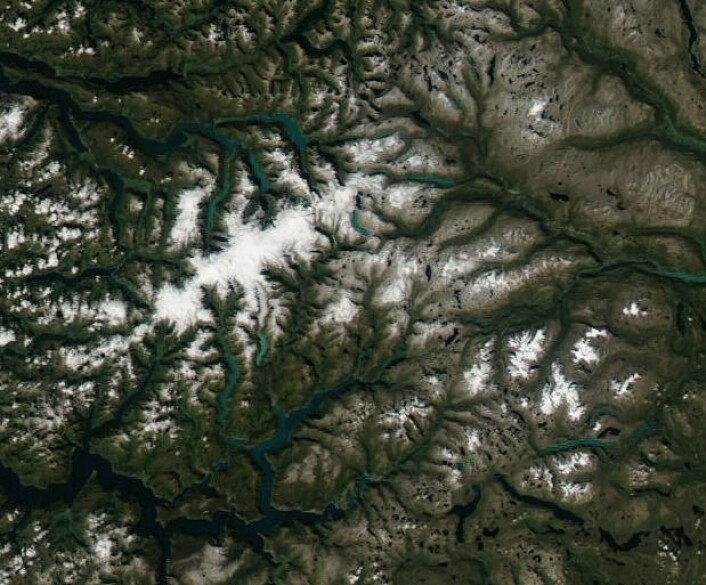 Jostedalsbreen sett fra rommet 28. august.  (Foto: NASA Aqua MODIS)