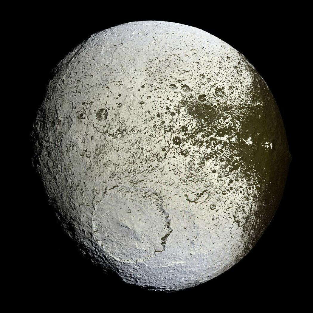 Dette er Lapetus, som er en av Saturns mange måner. Den består av mest is og litt stein og har en helt lys og en helt mørk halvkule. De mange kratrene tyder på at månen har fått hard medfart gjennom tidene. (Bilde: NASA/JPL/Space Science Institute)