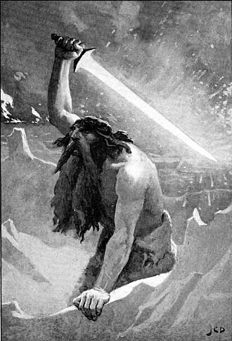 Jotner er kjemper i norrøn mytologi. Her vokter jotnen Surtr Muspellsheimen. (Bilde: offentlig eiendom).