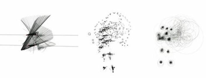 Visualisering av en person som vinker. Den samme bevegelsen kan visualiseres på flere måter hvor forskjellige kvaliteter bli bragt frem, som bevegelsens hastighet, retning eller posisjon. (Sync) (Foto: AHO, Lise Amy Hansen)