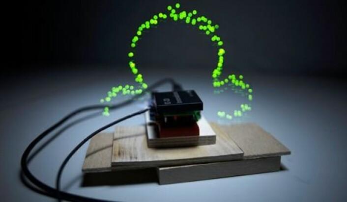 Slik ser det trådløse feltet rundt en RFID-brikke ut. (Foto: Timo Arnall, AHO)