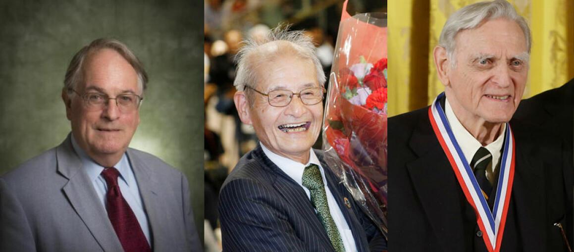 Her er de tre prisvinnerne i kjemi: britiske M. Stanley Whittingham, japanske Akira Yoshino og amerikanske John B. Goodenough. (Foto: State University of New York at Binghamton, Yoshiaki Sakamoto/Kyodo News via AP og Charles Dharapak / AP Photo / NTB Scanpix)