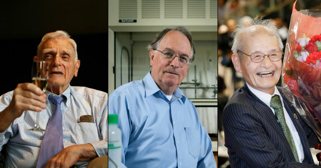 Nobelprisen i kjemi for år 2019 blir tildelt John B. Goodenough, M. Stanley Whittingham og Akira Yoshino. (Foto: Peter Nicholls / Reuters, Jonathan Cohen / AP og Yuta Omori / AP)