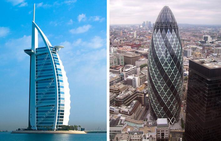 T.v: Burj Al Arab i Dubai, t.h. bygget som kalles The Gherkin i London. (Foto: T.v: Joi Ito, Creative Commons, t.h: Paste, Wikimedia Commons