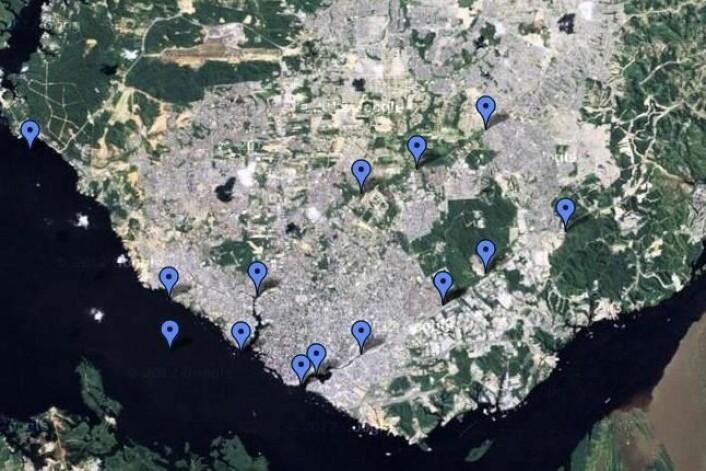 Kartet viser steder der forskerne har tatt prøver av vannet. (Foto: Google maps)
