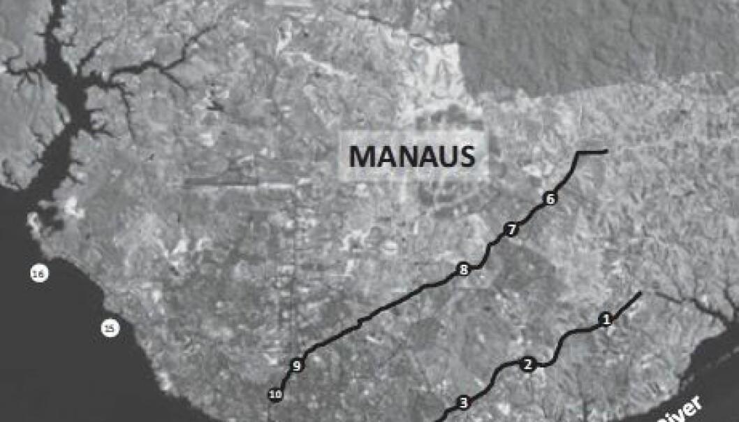 Kartet viser steder der forskerne har tatt prøver av vannet.