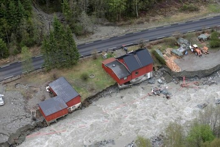 Mange av husene ble rasert i Kvam i Gudbrandsdalen hvor elven Veikleåa raserte et boligområde i flommen tidligere i år. (Foto: Håkon Mosvold Larsen, Scanpix)