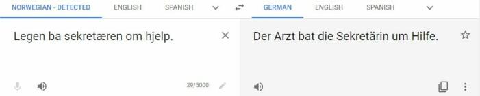 """Google oversetter automatisk """"legen"""" til en mann, og sekretæren til en kvinne."""