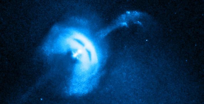 Denne pulsaren i stjernebildet Vela ligger omtrent 1000 lysår fra jorda. Den er fotografert i røntgenstråler med Chandra-romobservatoriet. (Foto: NASA/CXC/University of Toronto/M. Durant, et.al)