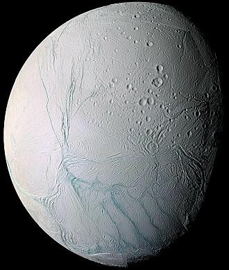 Hva skjuler seg under isen på Enceladus? (Bilde: NASA/JPL/Space Science Institute)