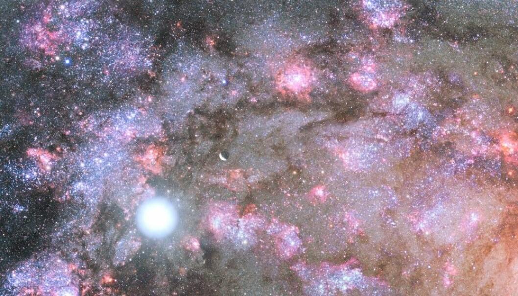 En kunstnerisk framstilling av stjerner som blir dannet i kjernen av en ung galakse. (Foto: NASA, Z. Levay, G. Bacon (STScI)
