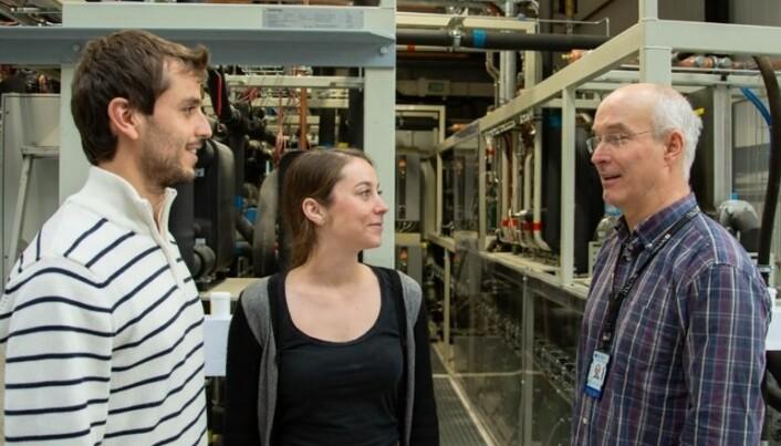 NTNU researchers Ángel Álvarez Pardiñas, Stefanie Blust and Armin Hafner are looking forward to helping CERN go green. (Photo: NTNU/Maren Agdestein)