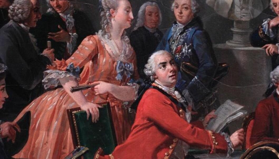 På 1700-talet var det ulike måtar å lese på. Ofte las folk for seg sjølve. Men det var også vanleg å samle mange rundt ei bok. Her eit bilete av Anicet Charles Gabriel Lemonnier: A Reading in the Salon of Mme Geoffrin (1755), Châteaux de Malmaison et Bois-Préeau, Paris. (Wikimedia commons).