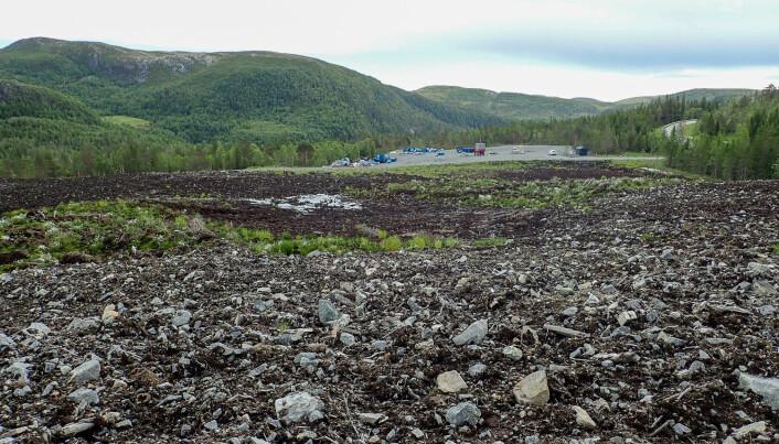 Når det bygges anlegg på myr må det graves ut store mengder jord som plasseres i deponier. Her vil det komme ny vegetasjon, men etter hvert som torva tørker og omsettes slippes det ut store mengder karbon. Foto: Magni Olsen Kyrkjeeide / NINA.