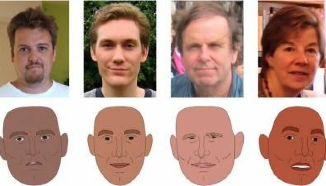 Ved å ta utgangspunkt i testpersoners vurdering av 1000 fotografier av virkelige ansikter har forskerne kunnet lage en avansert nevral nettverksmodell. Denne modellen bruker til å konstruere ansikter som får testpersoner til å vurdere dem som dominerende, pålitelige eller tiltrekkende. Modellen kan altså brukes til å forutsi hvordan førsteinntrykket av et ansikt vil være. (Ill.: PNAS)