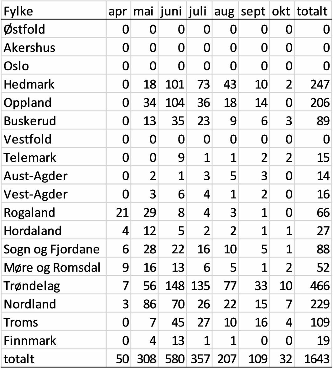 Tabell 1. Antall lam rapportert i Rovbase med dødsårsak kongeørn fra årene 2010- september 2019 per fylke og måned.