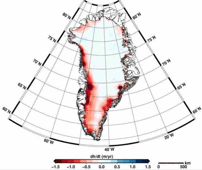 Fig 1: Høydeendringer på Grønland jan 2011 –jan 2014. (Helm et al., The Cryosphere, 2014) (Foto:  )