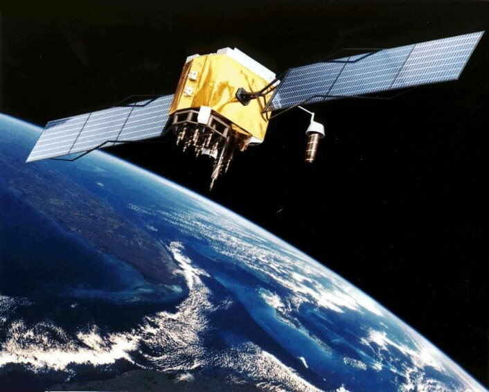 GPS-satelitt i bane rundt jorden. (Foto: (Bilde: NASA))