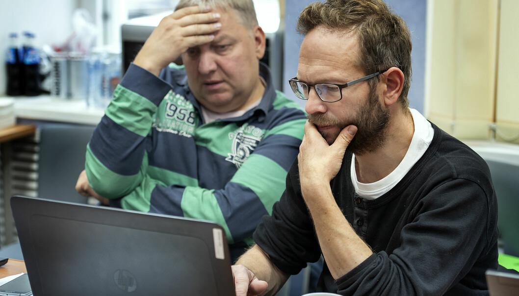 Havforskarane Jurij Kovaljov (t.v.) og Georg Skaret i tett samarbeid om kvoterådet for lodde. (Foto: Gunnar Sætra / Havforskingsinstituttet)