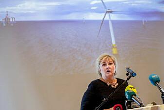 Forskerne ønsker seg mer offensiv politikk for å få fart på industri knyttet til havvind. Bildet av statsminister Erna Solberg er tatt under pressekonferansen i forbindelse med Equinors søknad om støtte til Hywind Tampen. (Foto: Vidar Ruud / NTB scanpix)