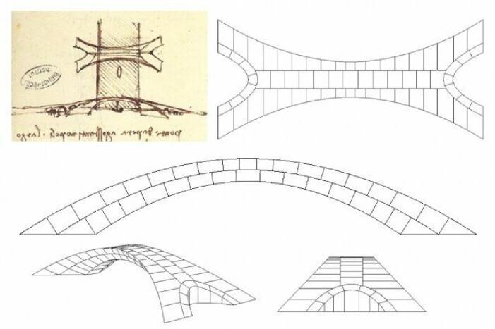 Her kan du se da Vincis skisse og skjematiske tegninger av broen. (Foto: Karly Bast/Michelle Xie)