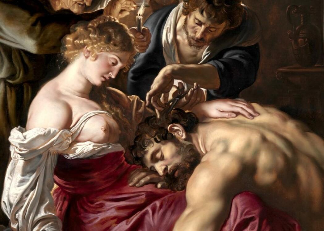 Jøden Samson fikk ifølge Det gamle testamente styrken sin av Gud gjennom å la håret vokse. Men hårets hans ble klippet av mens han forelsket sov i fanget til den svikefulle filisterkvinnen Dalila. Her på et maleri av Peter Paul Rubens fra 1610.