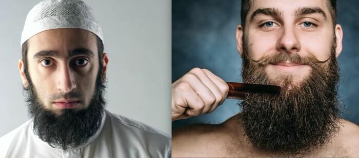 Stort skjegg er en viktig identitetsmarkør for mange muslimske menn. Det er det også for hipstermenn, som ellers er mest kjent for mikrobrygget øl og selvbakt surdeigsbrød. Har du problemer med å se forskjell på en hipster og en from muslim, så husk at hipsterne også må ha en stor og velfrisert bart. Muslimske menn har gjerne liten bart eller er helt barteløse, for å være sikre på at de tolker rett Muhammeds pålegg om at menn må stusse barten. (Fotos: diplomedia og Bona_natty / Shutterstock / NTB scanpix)