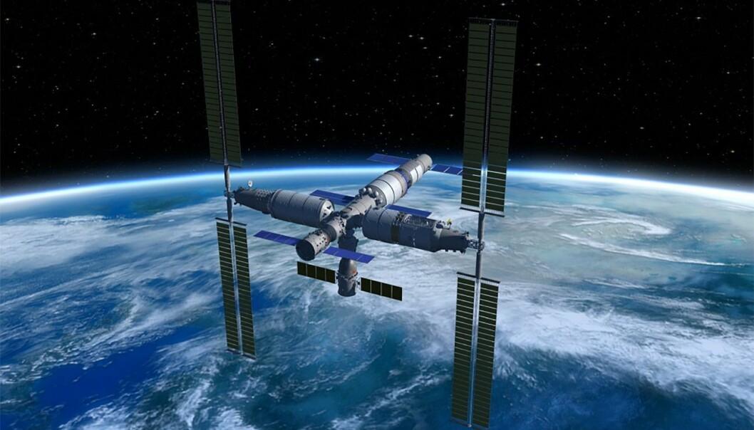 En kunstners gjengivelse av den fremtidige kinesiske romstasjonen. Hvis alt går etter planen, vil et NTNU-basert forskningsprosjekt bli gjennomført om bord på romstasjonen allerede i 2022. (Illustrasjon: China Manned Space Agency).