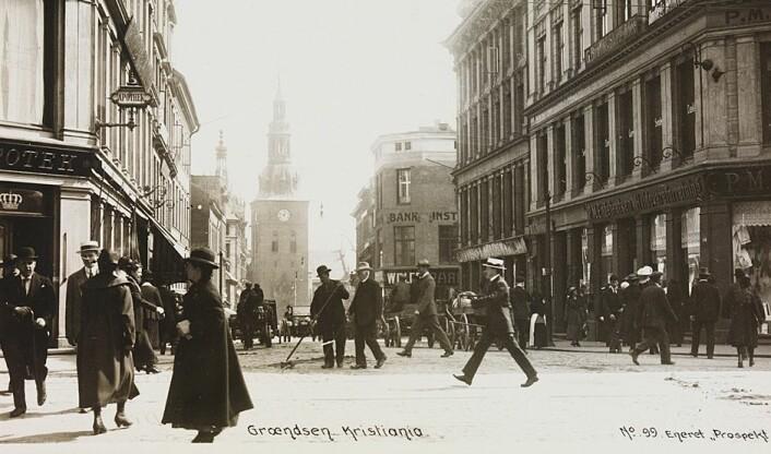 Fra Grensen i Kristiania.  (Foto: (Postkort/Nasjonalbiblioteteket))