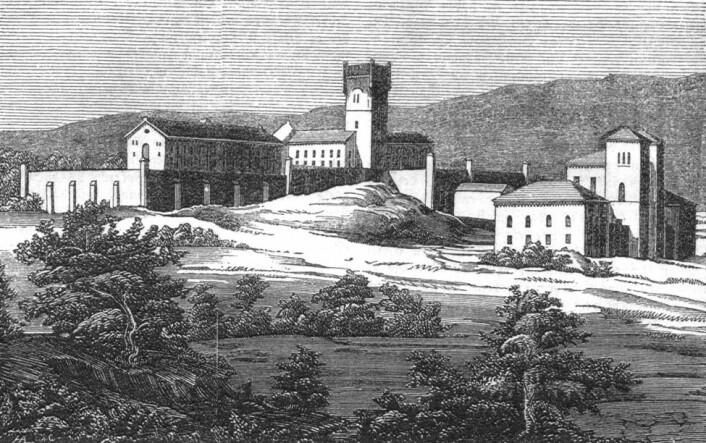 Christiania botsfengsel, som åpnet i 1851. Schirmer innførte teknologiske nyvinninger, blant annet vannklosett på alle celler.  (Foto: Skilling-Magazin 1852)