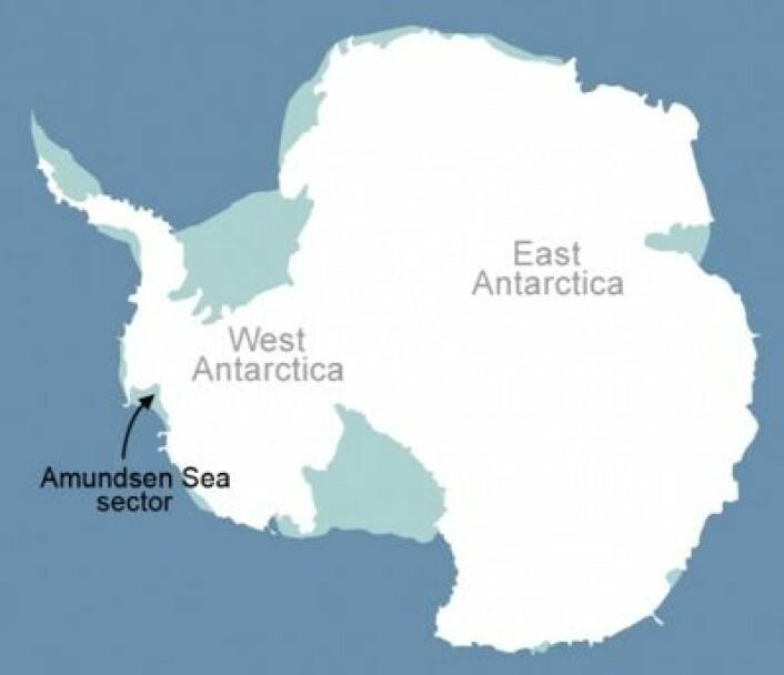 Isbremmene ved Amundsenhavet var i fokus denne uken. (Foto: (NASA))