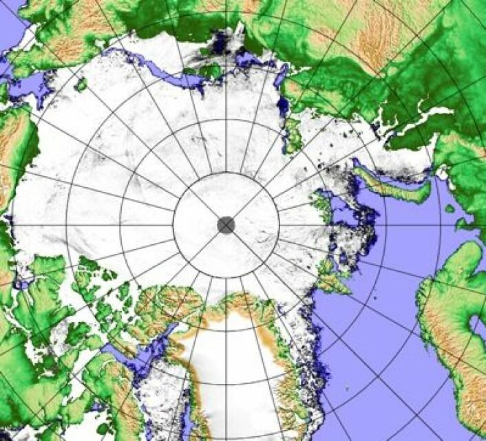 Datoen er 22. mai, og man begynner omsider å se noe blått hav i iskart fra Polhavet. (Foto: (Univ Bremen, basert på data fra AMSR2/JAXA))