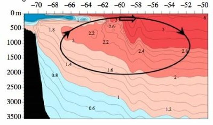 Oseanografisk snitt (temperatur, dybde, breddegrad) i sektoren 85-90 grader vest på den sydlige halvkule. (Foto: (Marshall et al., Phil Trans R Soc, juni 2014))
