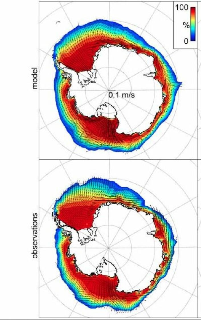 Modell (øverst) og observasjoner (nederst) for midlere iskonsentrasjon og isdrift for sesongen april-mai-juni i perioden 1992 - 2010. (Foto: (Holland et al., J. Climate, AMS, 2014))