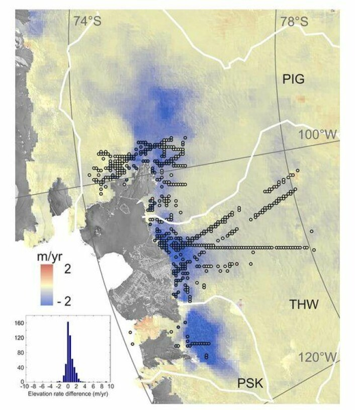 Mesteparten av issmeltingen som CryoSat har målt i Antarktis skjer ved de store isbreene i Vest-Antarktis, som Pine Island, Thwaites og Smith. De regnes nå for å ha gått forbi vendepunktet for smelting. Grafikk: (Foto: CPOM/Leeds/ESA)