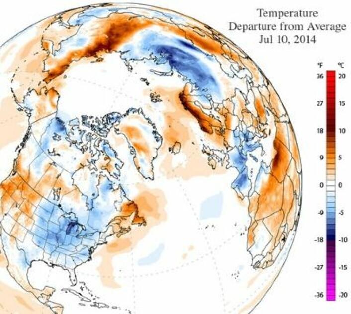 Temperatur (avvik fra normalen) torsdag 10. juli. (Foto: (Climate Reanalyzer, CCI, University of Maine, USA))