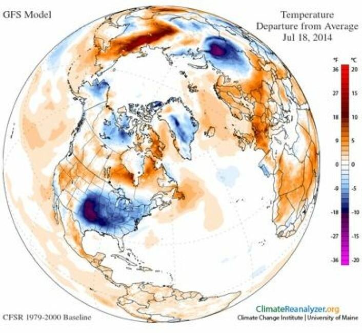 Det amerikanske kuldehullet denne uken strakte seg helt ned til Texas. (Foto: (University of Maine))