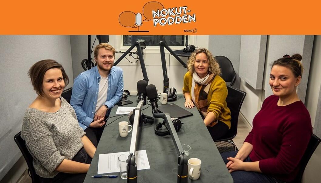 Elin Kubberød og Inna Marie Dahlen fra Handelshøyskolen NMBU er gjester i NOKUT-podden og deler gode tips og triks til deg som ønsker å gi enda bedre veiledning og tilbakemelding til studentene. (Illustrasjon: NOKUT).