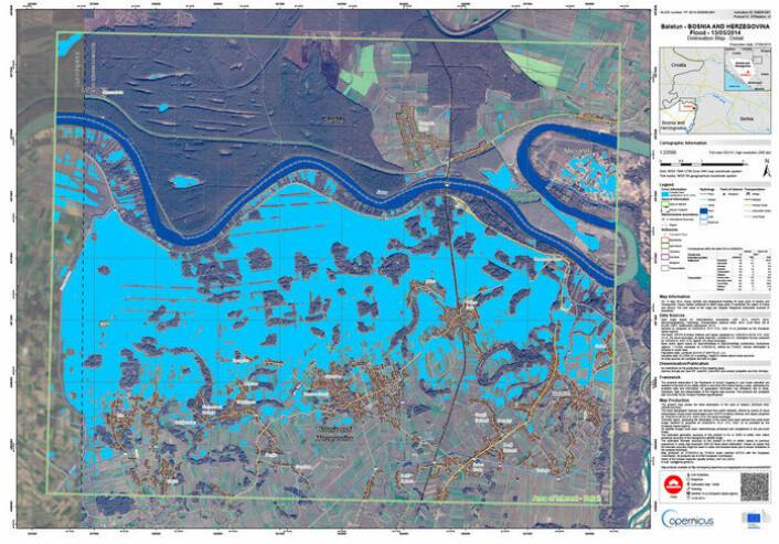 Radarsatellitten Sentinel-1s kart over flommen på Balkan i mai 2014 var med på lette hjelpearbeidet. (Foto: ESA/Europakommisjonen)