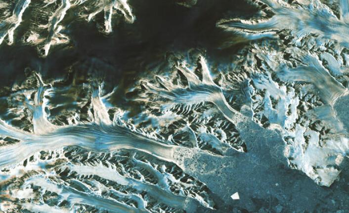 Den europeiske miljøsatellitten Sentinel-1s bilde av isbreer på den antarktiske halvøy i april 2014. (Foto: ESA)