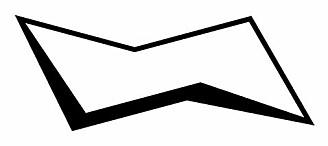 """Den vanlige formen på sykloheksanmolekylet: en bitteliten solstol, med ryggen mot venstre eller høyre. Molekylet har et karbonatom i hvert av """"hjørnene"""". (Illustrasjon: Wikimedia Commons)."""