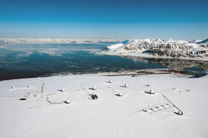 SvalSat på Svalbard er verdens mest brukte bakkestasjon for satellitter og eies av det norske firmaet KSAT. (Foto: KSAT)