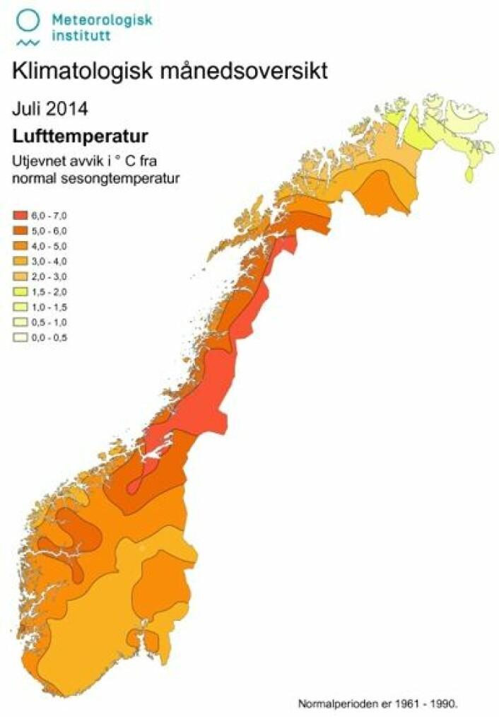 Ny norgesrekord, bokstavelig talt. Slik var temperaturen (avvik fra normalen) i juli. (Foto: (Meteorologisk institutt))
